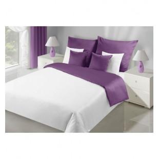 Elegantná bielo fialová posteľná obliečka z egyptskej bavlny