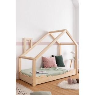 Drevená posteľ s bočnicou v tvare obláčika