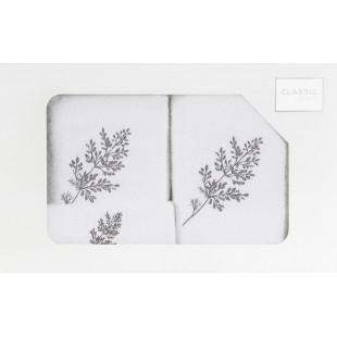 3- časťový komplet osušky a uterákov do kúpeľne s motívom rastliny
