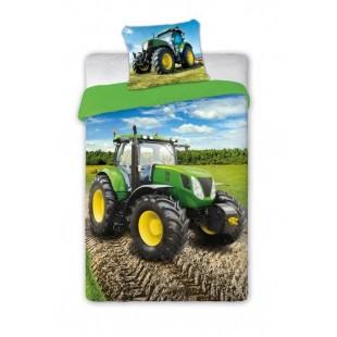 Bavlnené posteľné obliečky s motívom traktora