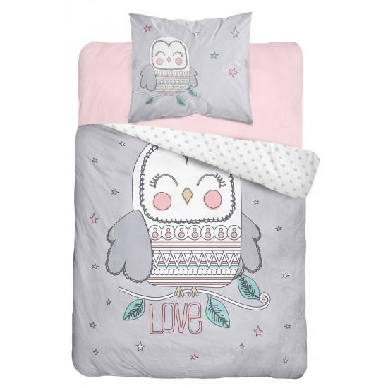 Sivo rúžové detské posteľné obliečky s motívom sovy