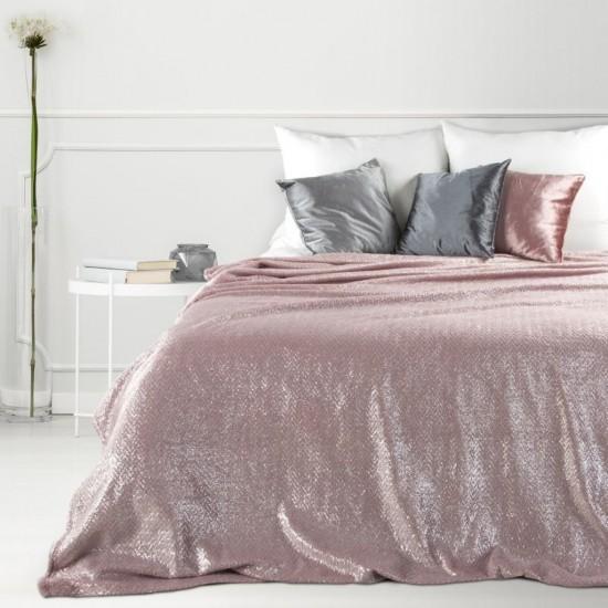 Pudrová dekoračná deka na posteľ so strieborným prešívaním