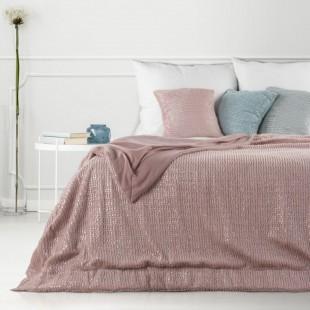 Obojstranná svetlorúžová dekoračná deka na posteľ so strieborným prešívaním