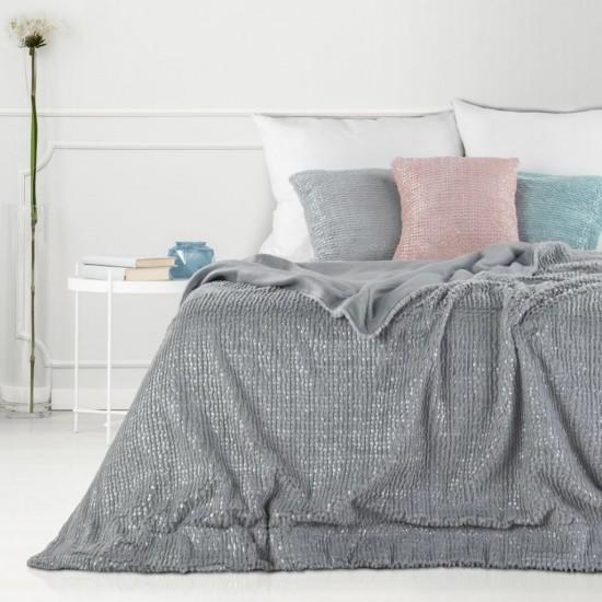 Obojstranná svetlosivá dekoračná deka na posteľ so strieborným prešívaním