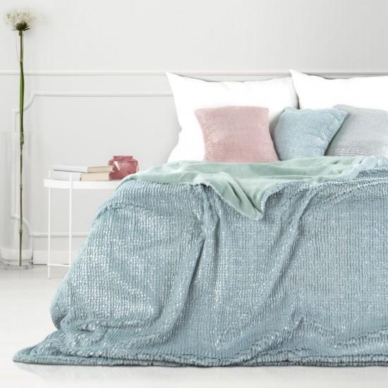 Obojstranná tyrkysová dekoračná deka na posteľ so strieborným prešívaním