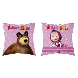 Obojstranná detská obliečka na vankúš Máša a Medveď