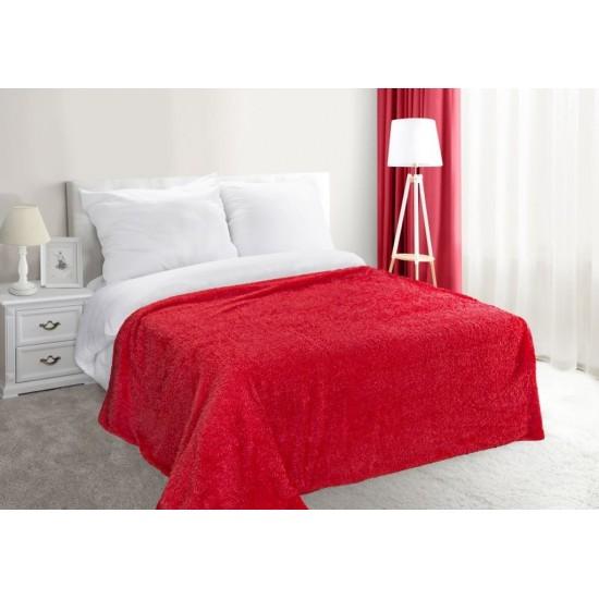 Červená dekoračná deka na posteľ zo syntetickej bavlny