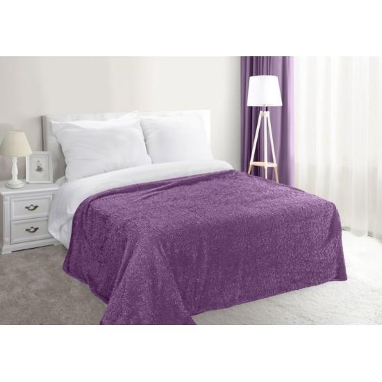 Fialová dekoračná deka na posteľ zo syntetickej bavlny