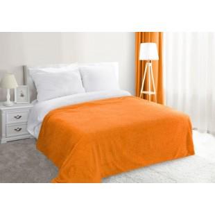 Oranžová dekoračná deka na posteľ zo syntetickej bavlny