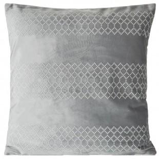 Sivá dekoračná obliečka na vankúš so strieborným vzorom