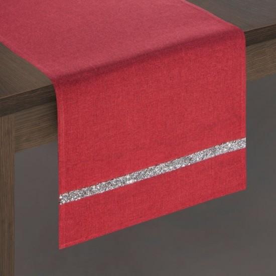 Červený dekoračný behúň na stôl so strieborným pruhom