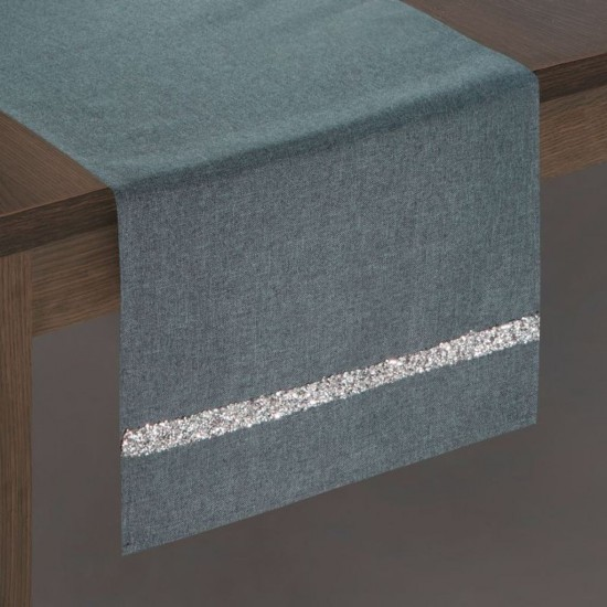 Tmavosivý dekoračný behúň na stôl so strieborným pruhom
