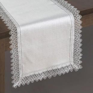 Béžový behúň na stôl s čipkovaným lemom