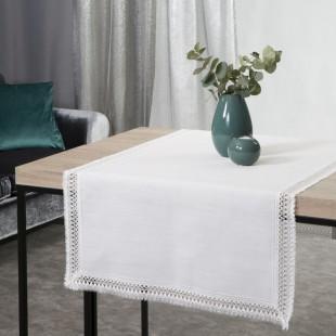 Biely dekoračný obrus na stôl s čipkovaným lemom po okrajoch