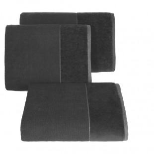 Čierny bavlnený uterák so širokým zamatovým okrajom