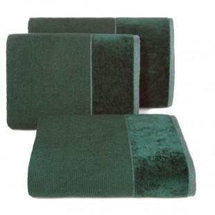 Tmavozelený bavlnený uterák so širokým zamatovým okrajom