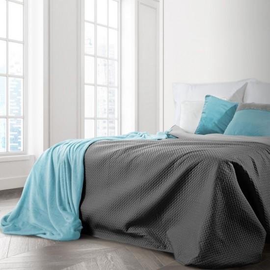 Tmavosivá obojstranná prikrývka na posteľ s prešívaním