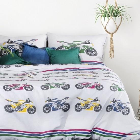Bavlnené posteľné obliečky s motívom farebných motoriek