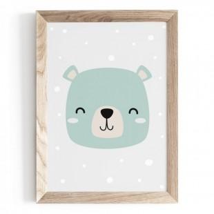 Plagát na stenu s motívom medvedíka v mätovej farbe
