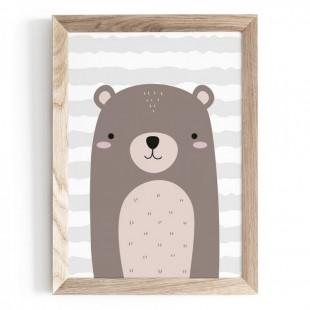 Plagát na stenu s motívom medvedíka s prúžkovaným pozadím