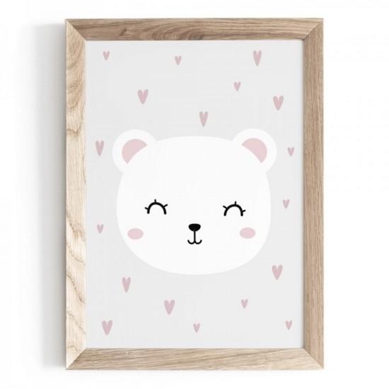 Plagát na stenu s motívom bieleho medvedíka so srdiečkami v pozadí