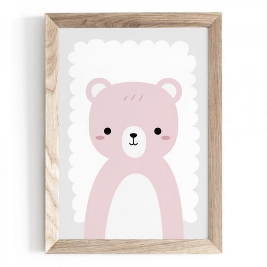 Plagát s motívom medvedíka na stenu v hnedej farbe
