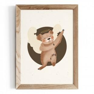 Plagát na stenu s motívom medvedíka s krídlami