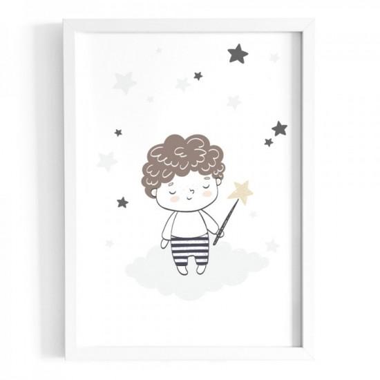 Plagát na stenu s motívom chlapčeka s čarovnou paličkou