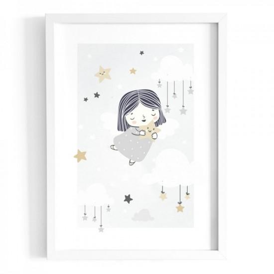 Plagát na stenu s motívom dievčatka v oblakoch