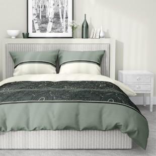 Vzorované béžovo zelené posteľné obliečky