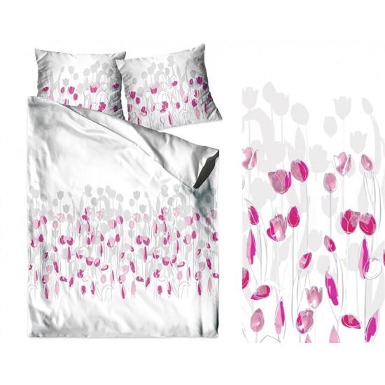 Bavlnené biele posteľné obliečky s rúžovými kvetmi