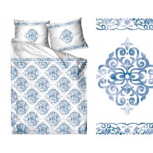 Bavlnené biele posteľné obliečky s tmavomodrými ornamentami