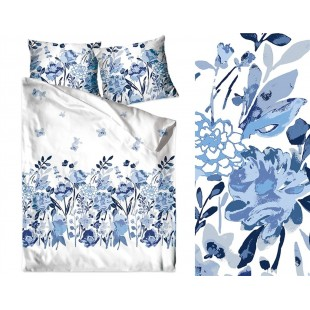 Bavlnené posteľné obliečky s tmavomodrými kvetmi