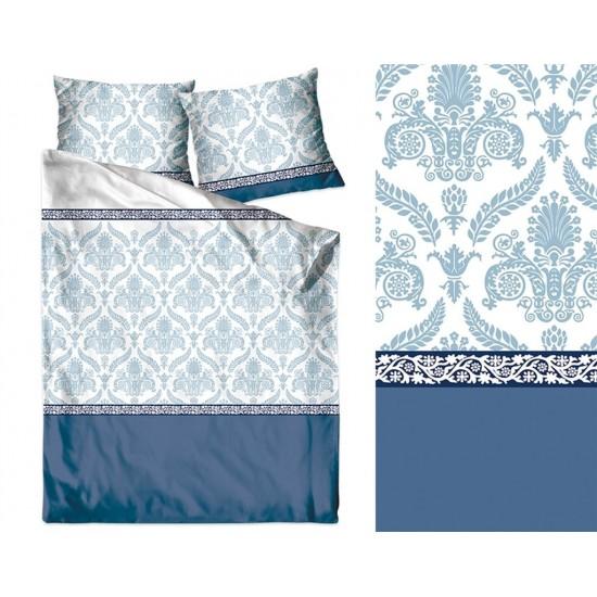 Bielo-modrá posteľná obliečka z bavlneného saténu s ornamentami