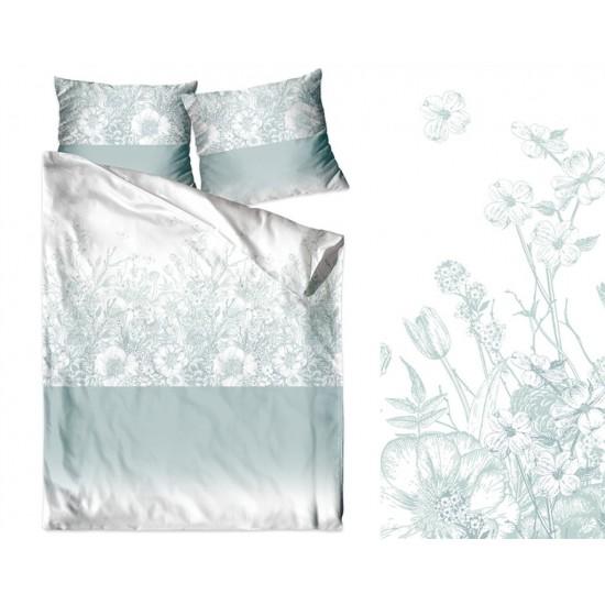 Mätovo-biela posteľná obliečka z bavlneného saténu s rastlinným motívom