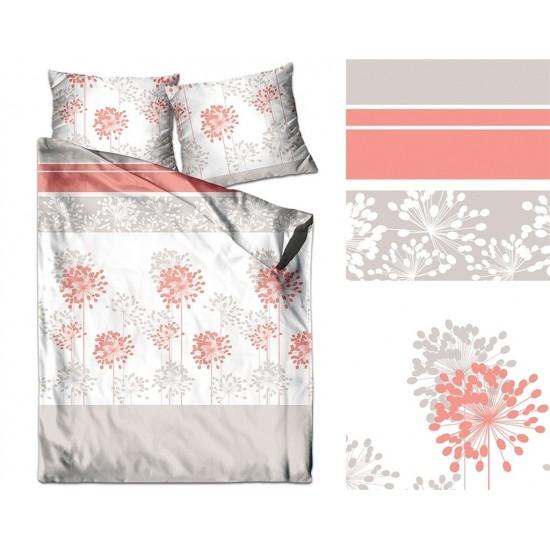 Bielo-béžová posteľná obliečka z bavlneného saténu s rastlinným motívom