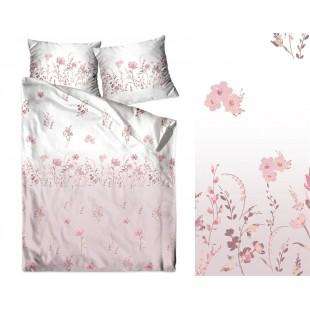 Bielo rúžové posteľné obliečky zo saténovej bavlny