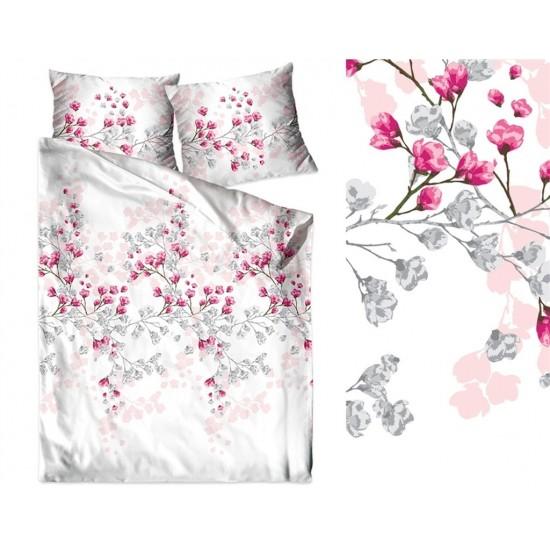 Biela posteľná obliečka z bavlneného saténu s kvetmi