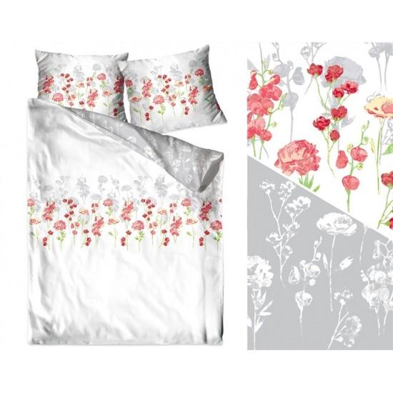 Bielo-sivá posteľná obliečka z bavlneného saténu s ružičkami