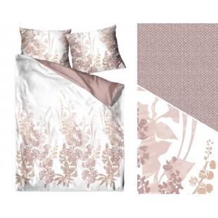 Bielo-béžová posteľná obliečka z bavlneného saténu s kvetinovým vzorom