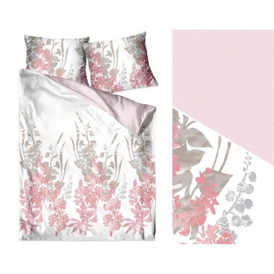 Bielo-ružová posteľná obliečka z bavlneného saténu s kvetinovým vzorom