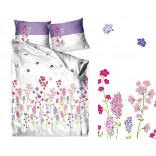 Biele posteľné obliečky z bavlneného saténu s kvetmi