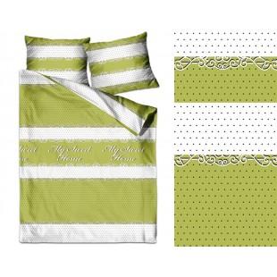 Zeleno biele bodkované posteľné obliečky zo saténovej bavlny