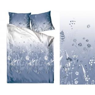 Tmavomodré tieňované posteľné obliečky zo saténovej bavlny s motívom kvetov