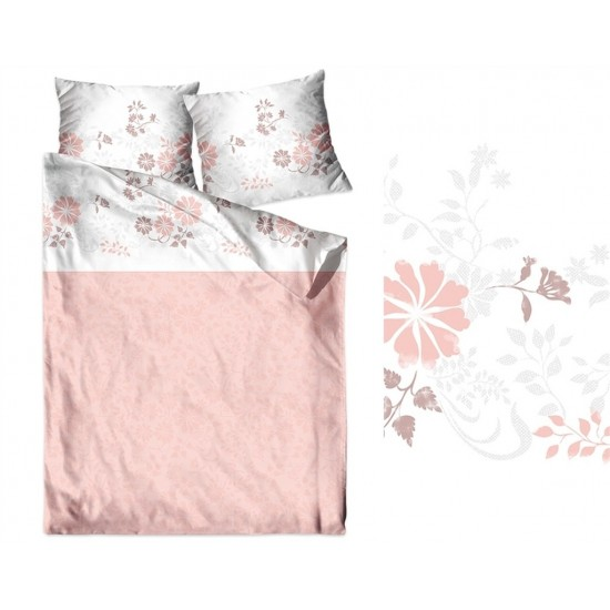 Svetlorúžové tieňované posteľné obliečky zo saténovej bavlny