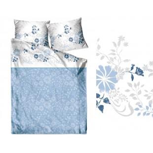 Bielo modré obojstranné posteľné obliečky zo saténovej bavlny