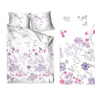 Biele obojstranné posteľné obliečky zo saténovej bavlny