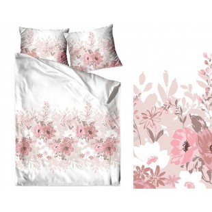 Biele obojstranné posteľné obliečky zo saténovej bavlny s rúžovými kvetmi