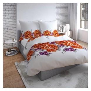 Biele elegantné posteľné obliečky s oranžovými a fialovými kvetmi