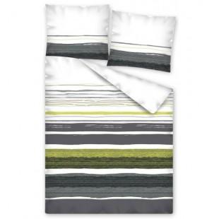 Sivo bielo zelené pruhované posteľné obliečky